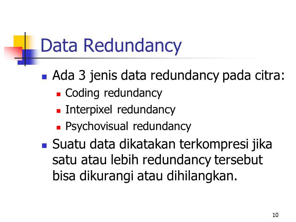 Data Redundancy Ada 3 jenis data redundancy pada citra: