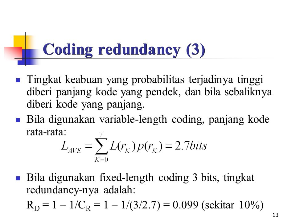 Coding redundancy (3)