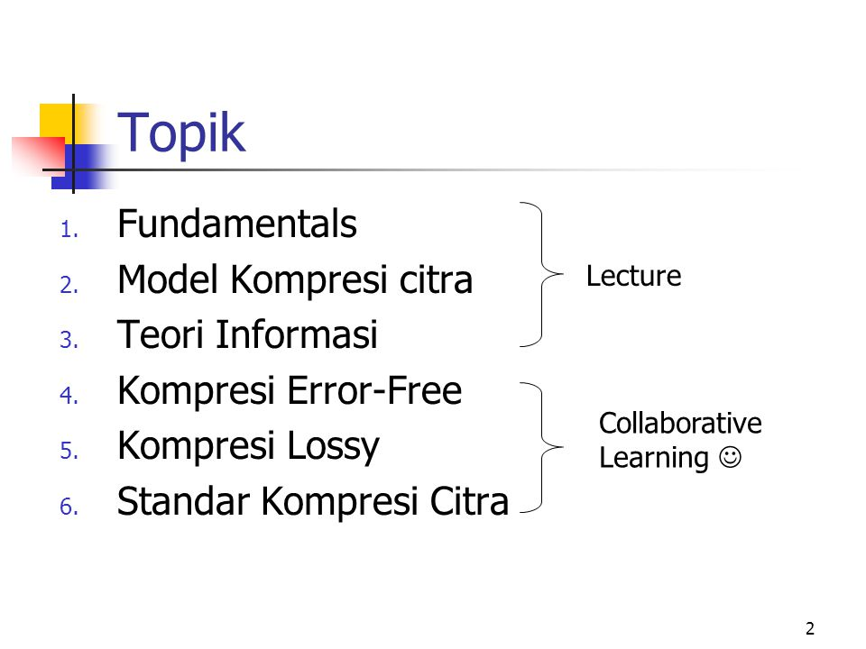 Topik Fundamentals Model Kompresi citra Teori Informasi