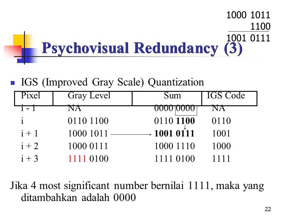 Psychovisual Redundancy (3)