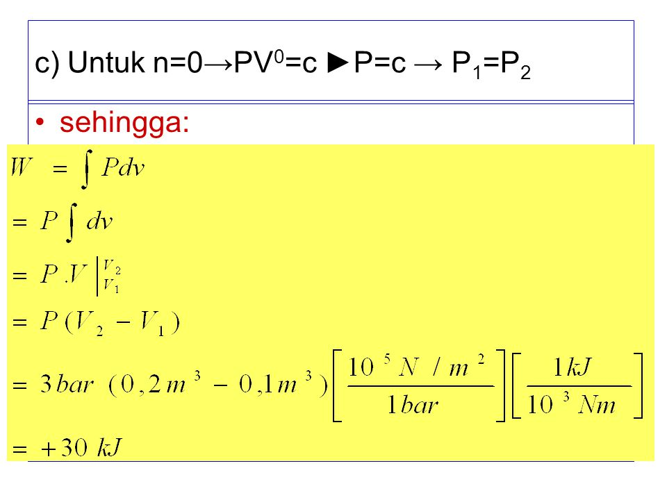 c) Untuk n=0→PV0=c ►P=c → P1=P2