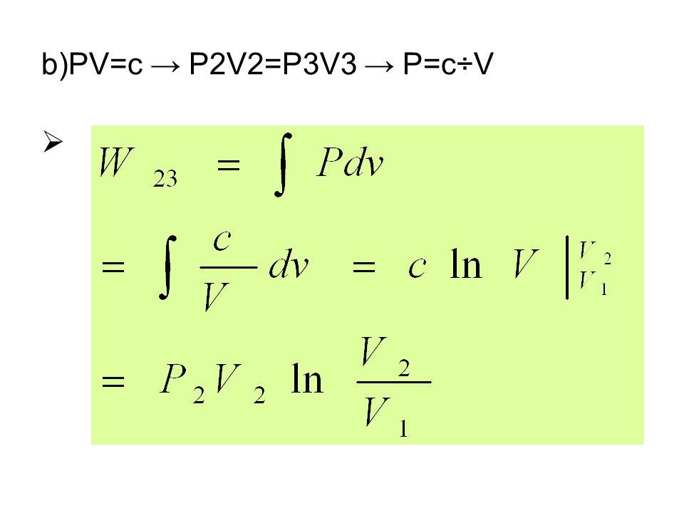 b)PV=c → P2V2=P3V3 → P=c÷V 