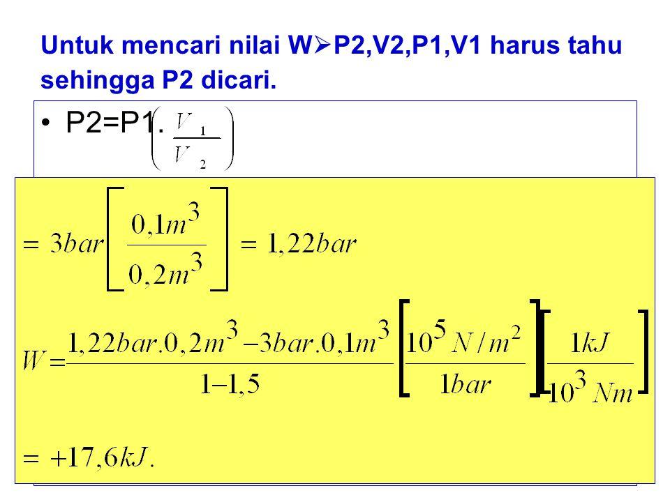 Untuk mencari nilai WP2,V2,P1,V1 harus tahu sehingga P2 dicari.