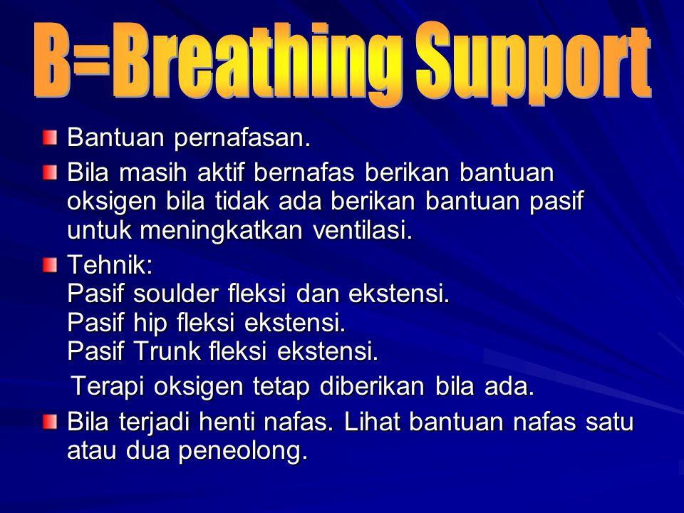 B=Breathing Support Bantuan pernafasan.