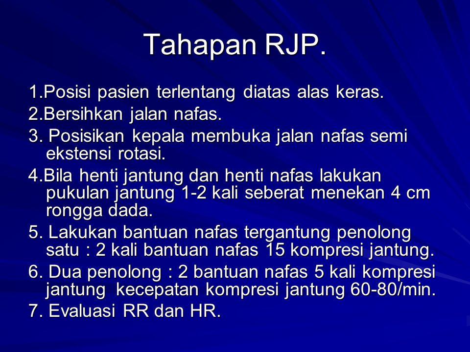 Tahapan RJP. 1.Posisi pasien terlentang diatas alas keras.