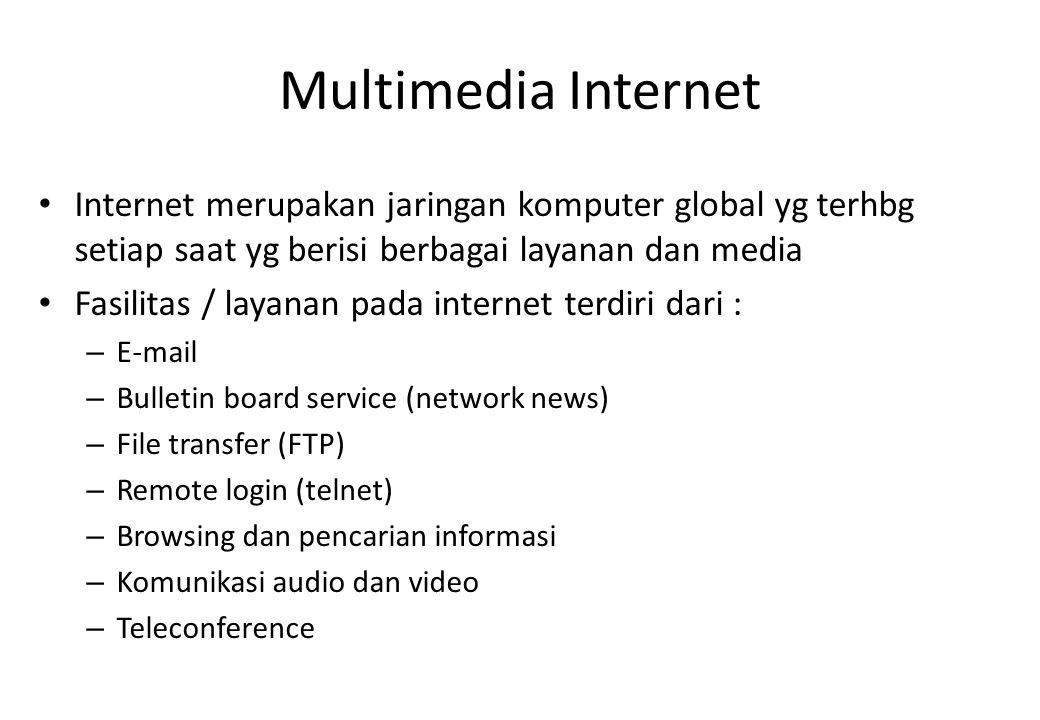 Multimedia Internet Internet merupakan jaringan komputer global yg terhbg setiap saat yg berisi berbagai layanan dan media.