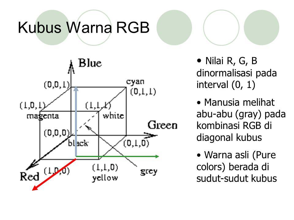 Kubus Warna RGB Nilai R, G, B dinormalisasi pada interval (0, 1)