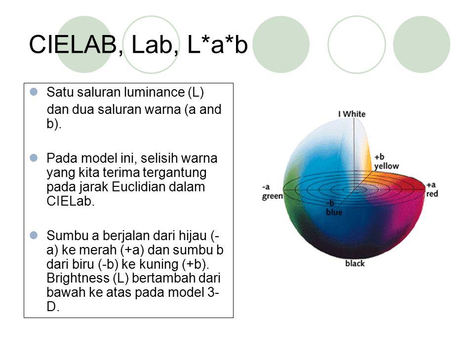 CIELAB, Lab, L*a*b Satu saluran luminance (L)