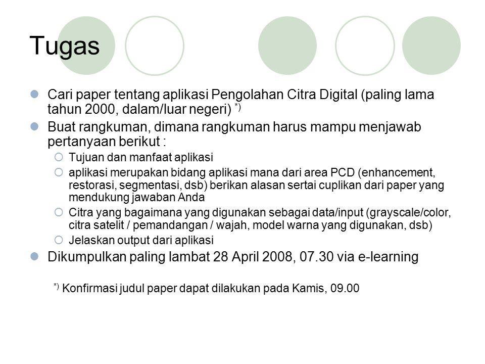 Tugas Cari paper tentang aplikasi Pengolahan Citra Digital (paling lama tahun 2000, dalam/luar negeri) *)