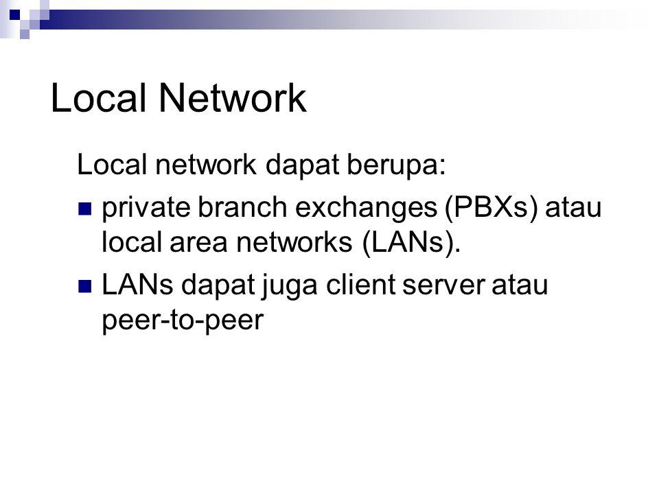 Local Network Local network dapat berupa: