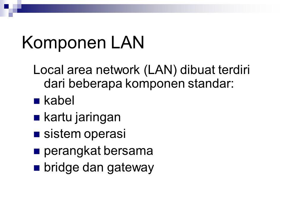 Komponen LAN Local area network (LAN) dibuat terdiri dari beberapa komponen standar: kabel. kartu jaringan.