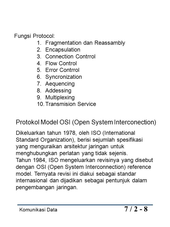 Protokol Model OSI (Open System Interconection)