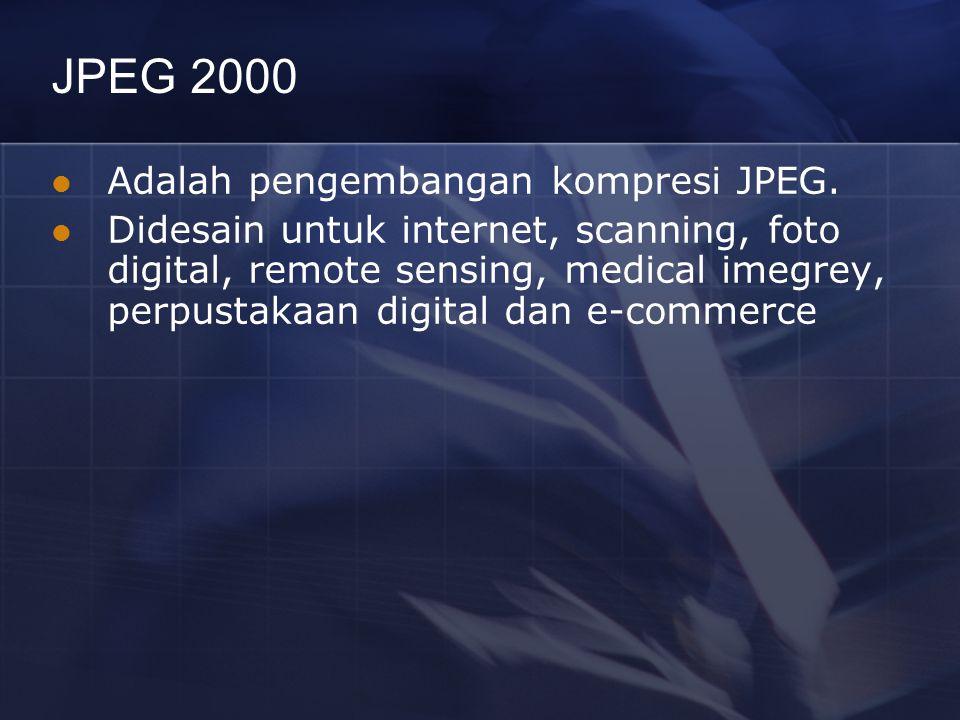 JPEG 2000 Adalah pengembangan kompresi JPEG.