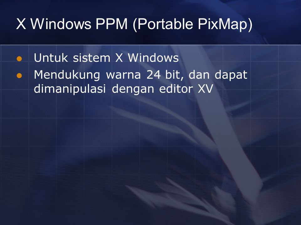 X Windows PPM (Portable PixMap)