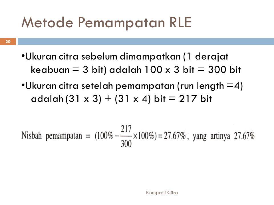 Metode Pemampatan RLE •Ukuran citra sebelum dimampatkan (1 derajat keabuan = 3 bit) adalah 100 x 3 bit = 300 bit.