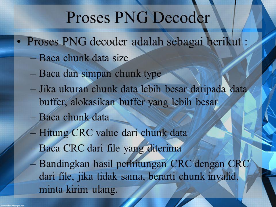 Proses PNG Decoder Proses PNG decoder adalah sebagai berikut :