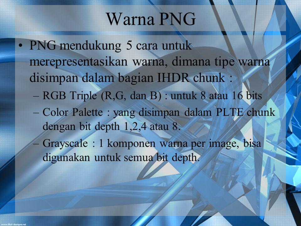 Warna PNG PNG mendukung 5 cara untuk merepresentasikan warna, dimana tipe warna disimpan dalam bagian IHDR chunk :