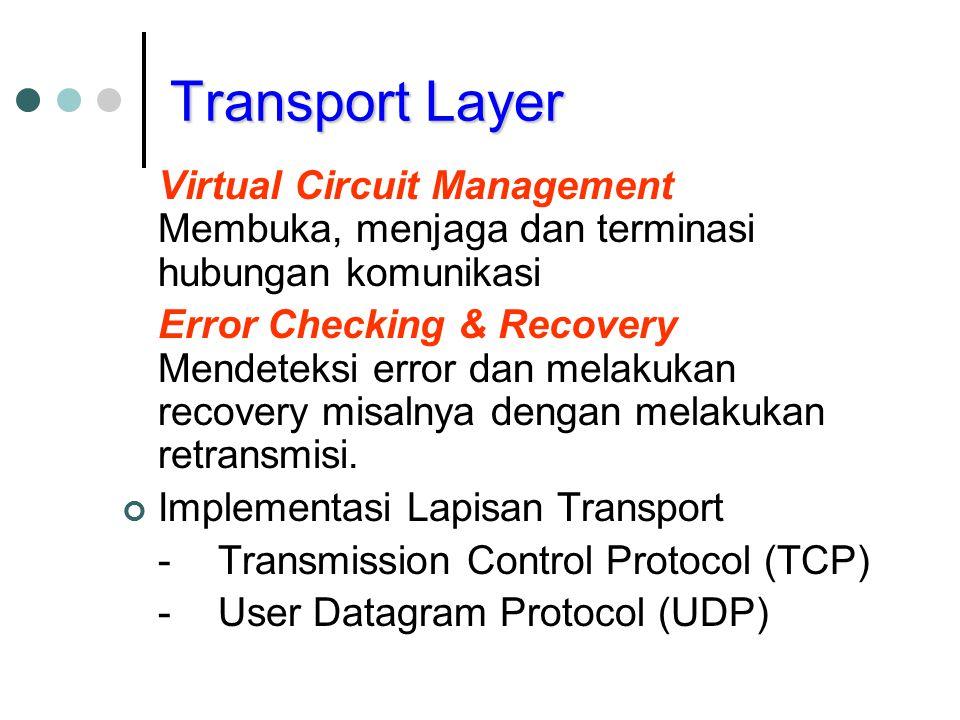 Transport Layer Virtual Circuit Management Membuka, menjaga dan terminasi hubungan komunikasi.