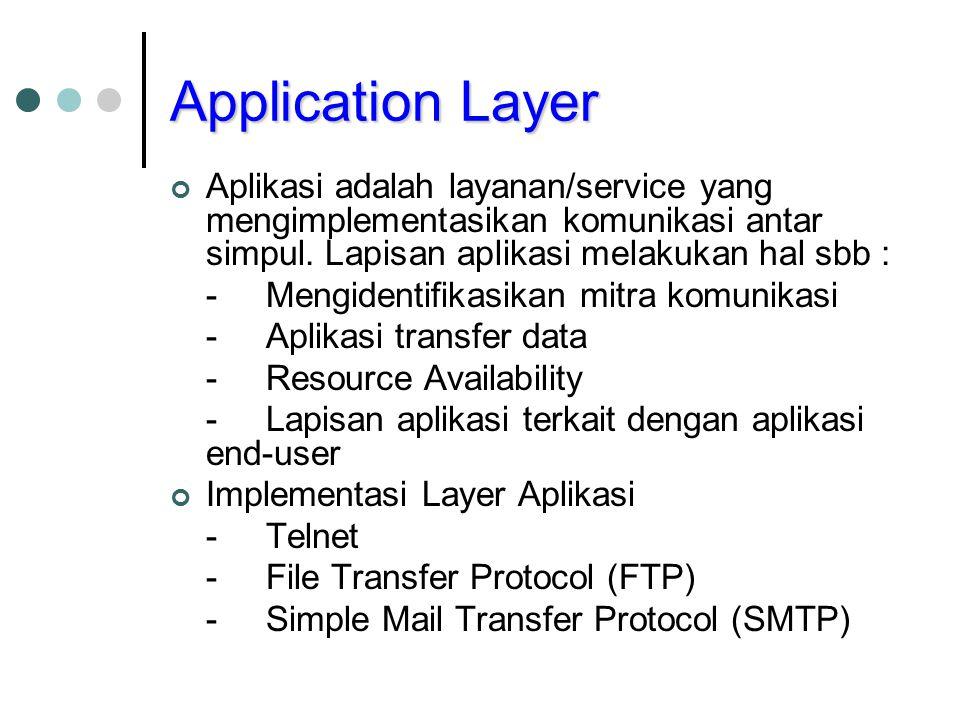 Application Layer Aplikasi adalah layanan/service yang mengimplementasikan komunikasi antar simpul. Lapisan aplikasi melakukan hal sbb :