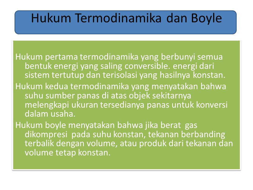 Hukum Termodinamika dan Boyle
