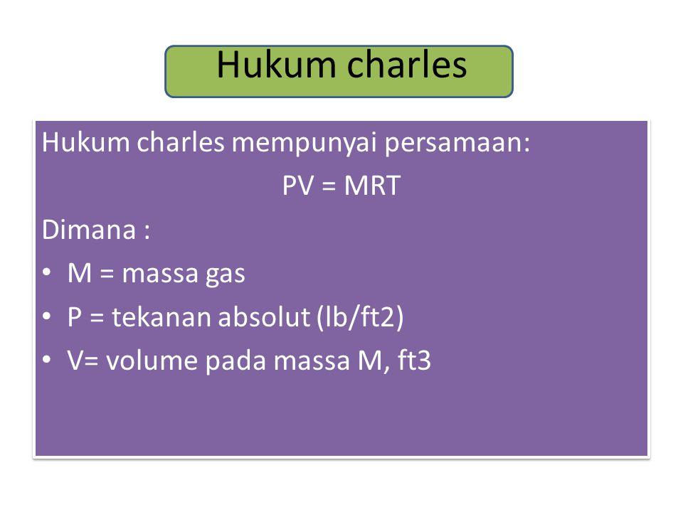 Hukum charles Hukum charles mempunyai persamaan: PV = MRT Dimana :