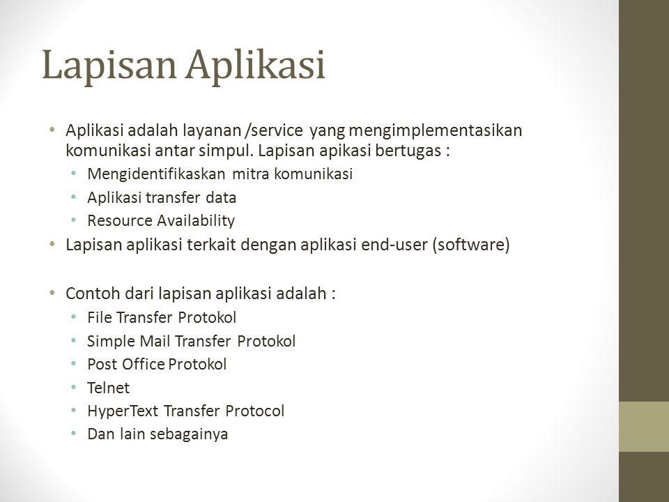 Lapisan Aplikasi Aplikasi adalah layanan /service yang mengimplementasikan komunikasi antar simpul. Lapisan apikasi bertugas :