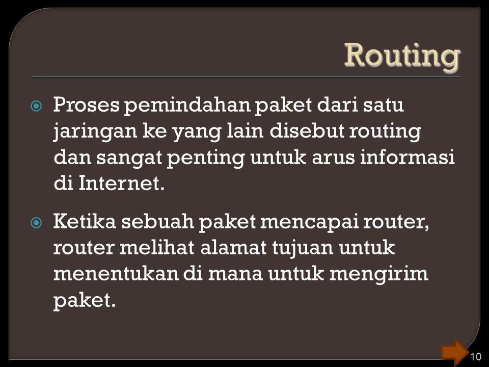 Routing Proses pemindahan paket dari satu jaringan ke yang lain disebut routing dan sangat penting untuk arus informasi di Internet.