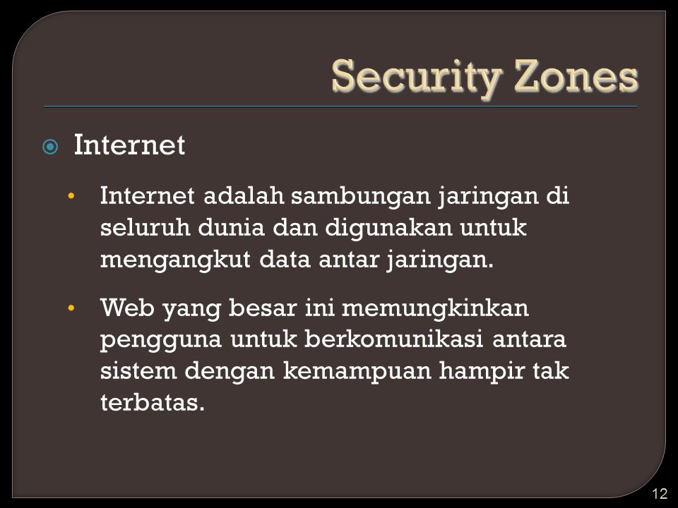 Security Zones Internet