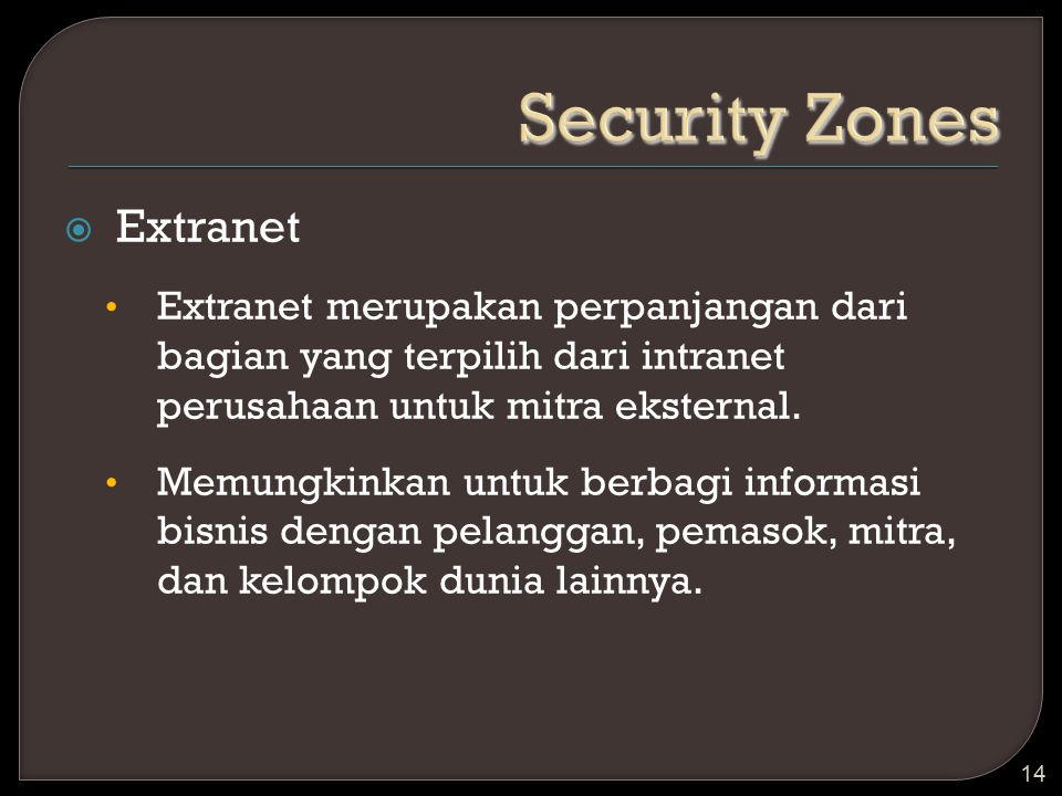 Security Zones Extranet