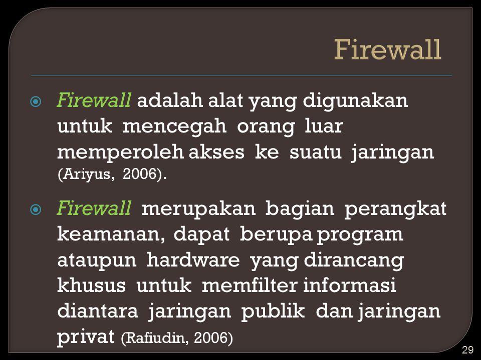 Firewall Firewall adalah alat yang digunakan untuk mencegah orang luar memperoleh akses ke suatu jaringan (Ariyus, 2006).