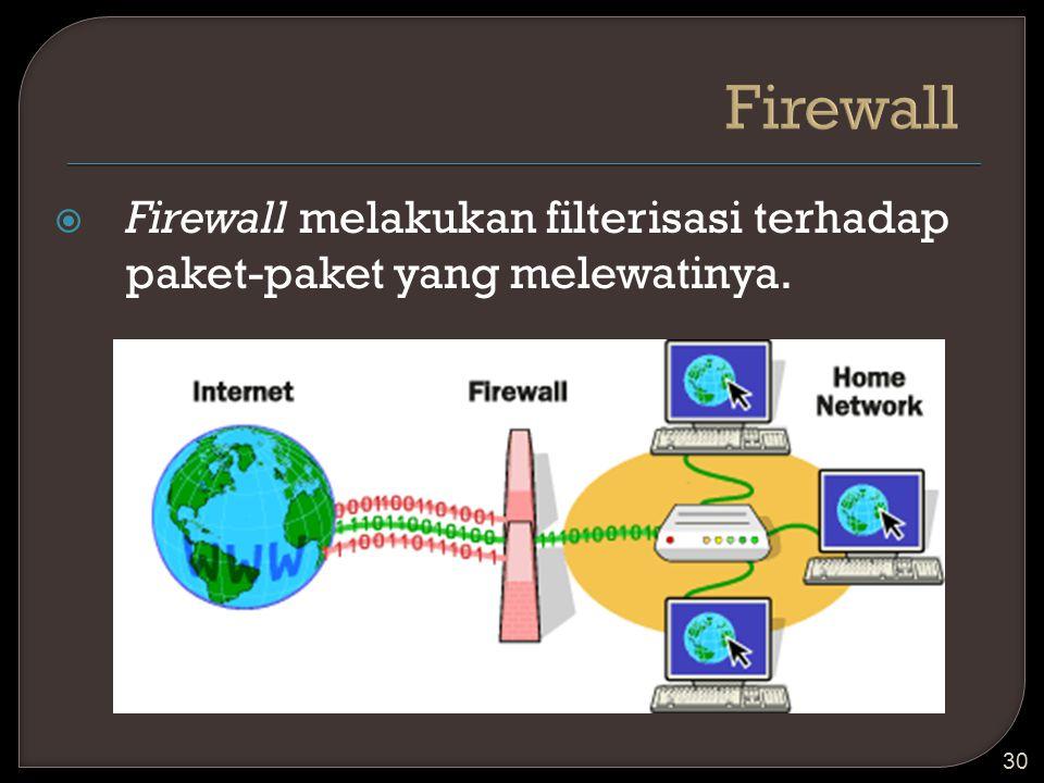 Firewall Firewall melakukan filterisasi terhadap paket-paket yang melewatinya.