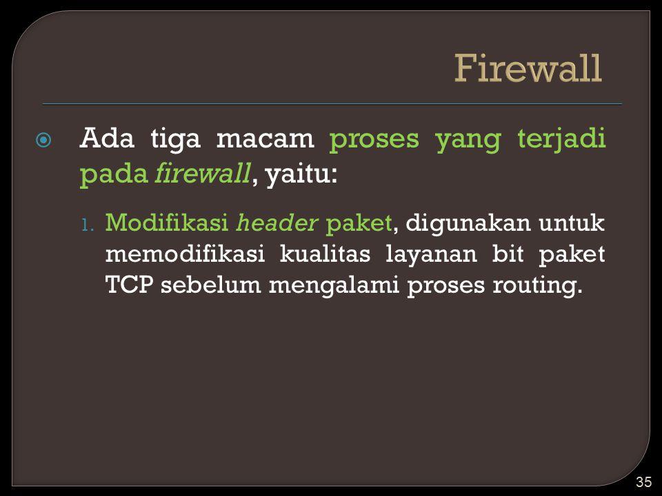 Firewall Ada tiga macam proses yang terjadi pada firewall, yaitu: