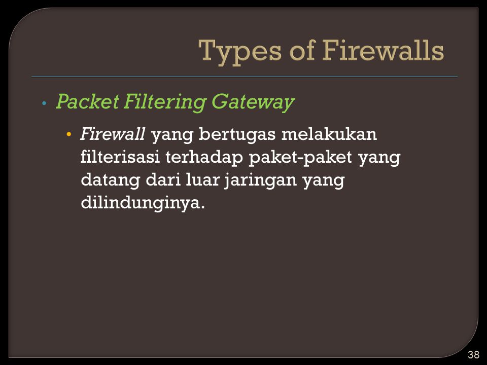 Types of Firewalls Packet Filtering Gateway