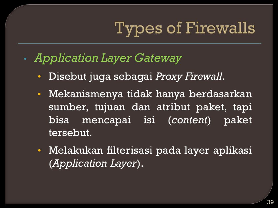 Types of Firewalls Application Layer Gateway