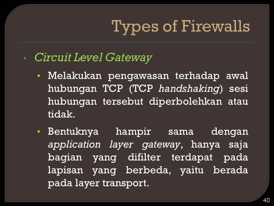 Types of Firewalls Circuit Level Gateway