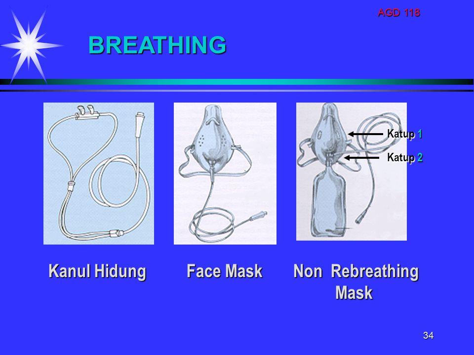 BREATHING Kanul Hidung Face Mask Non Rebreathing Mask Katup 1 Katup 2
