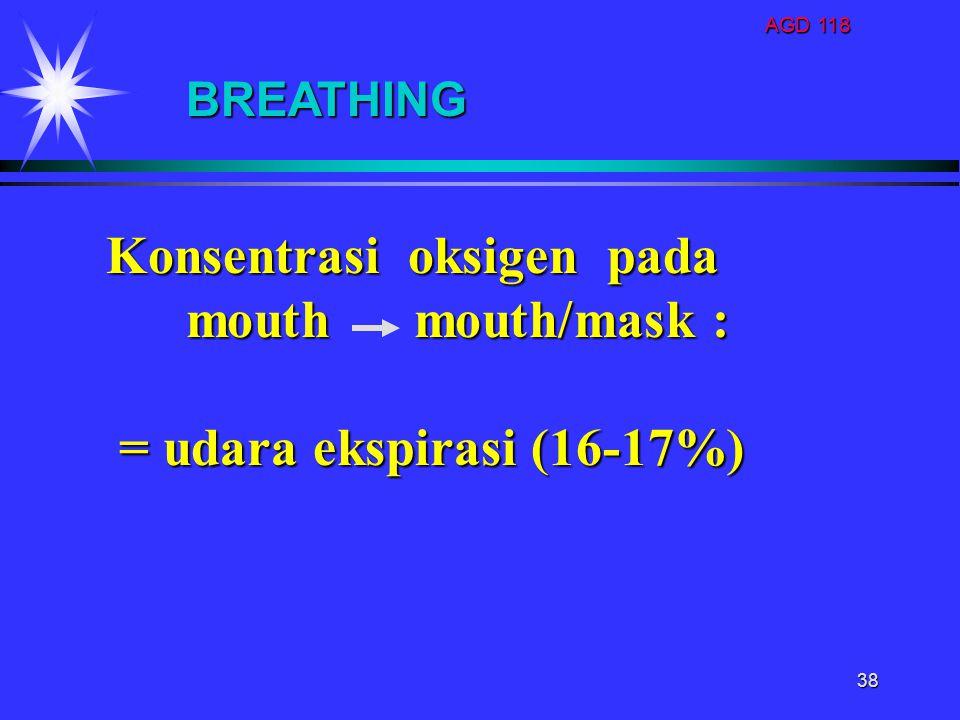 Konsentrasi oksigen pada mouth mouth/mask : = udara ekspirasi (16-17%)