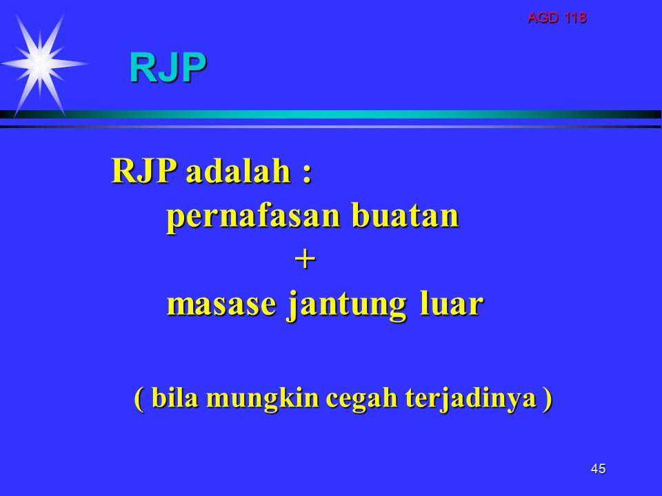 RJP RJP adalah : pernafasan buatan + masase jantung luar