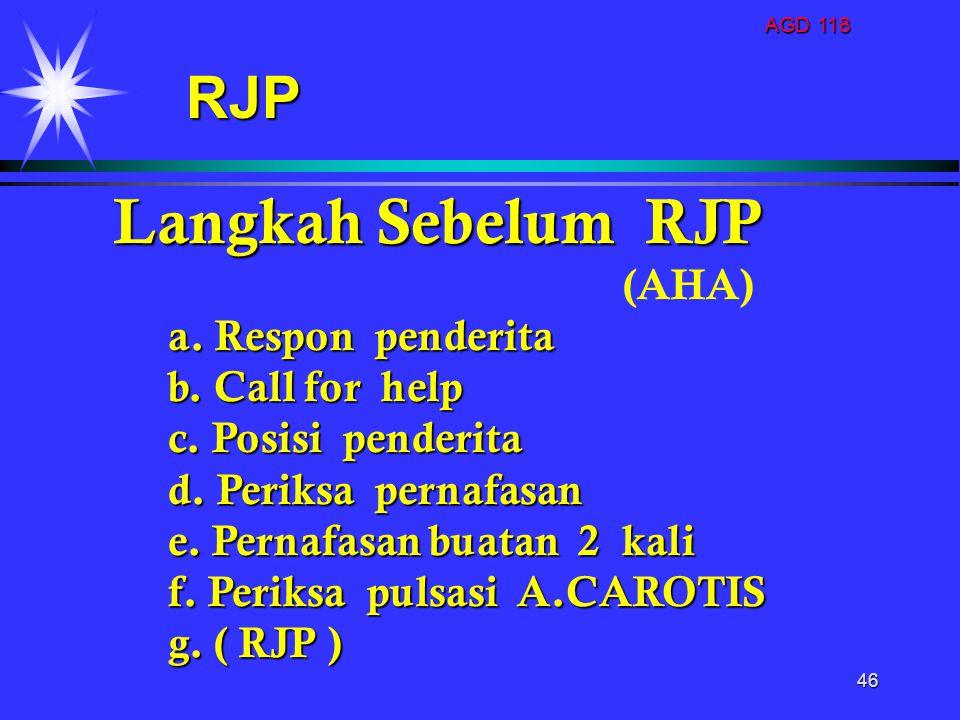 Langkah Sebelum RJP RJP (AHA) a. Respon penderita b. Call for help