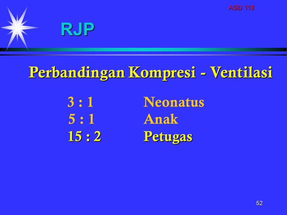 RJP Perbandingan Kompresi - Ventilasi 5 : 1 Anak 3 : 1 Neonatus