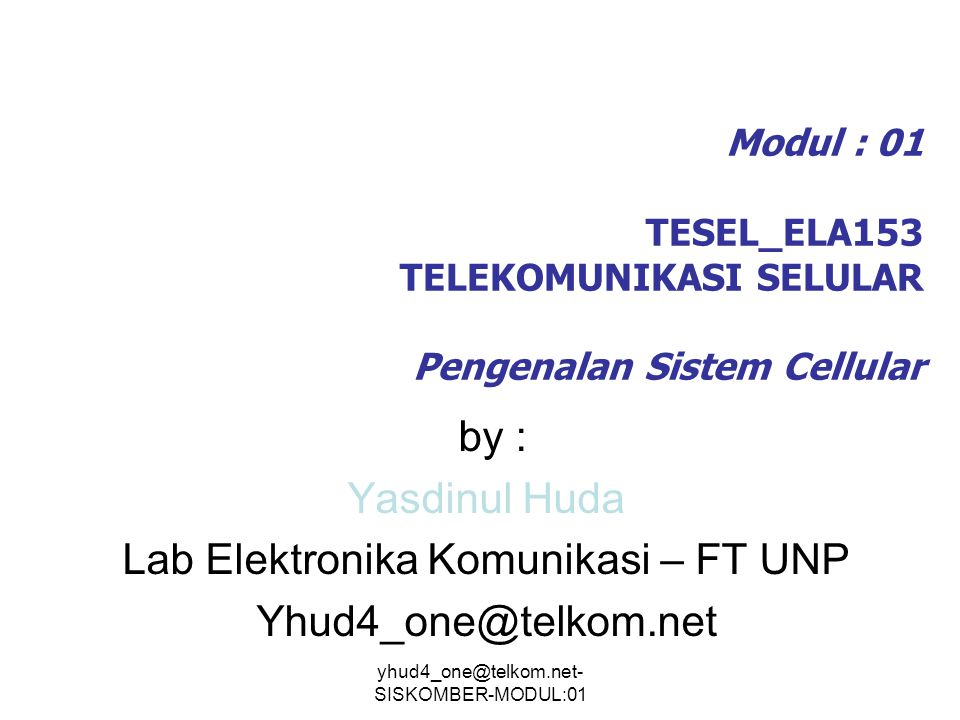 Lab Elektronika Komunikasi – FT UNP Yhud4_one@telkom.net