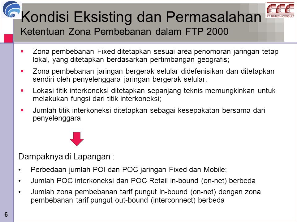 Kondisi Eksisting dan Permasalahan Ketentuan Zona Pembebanan dalam FTP 2000