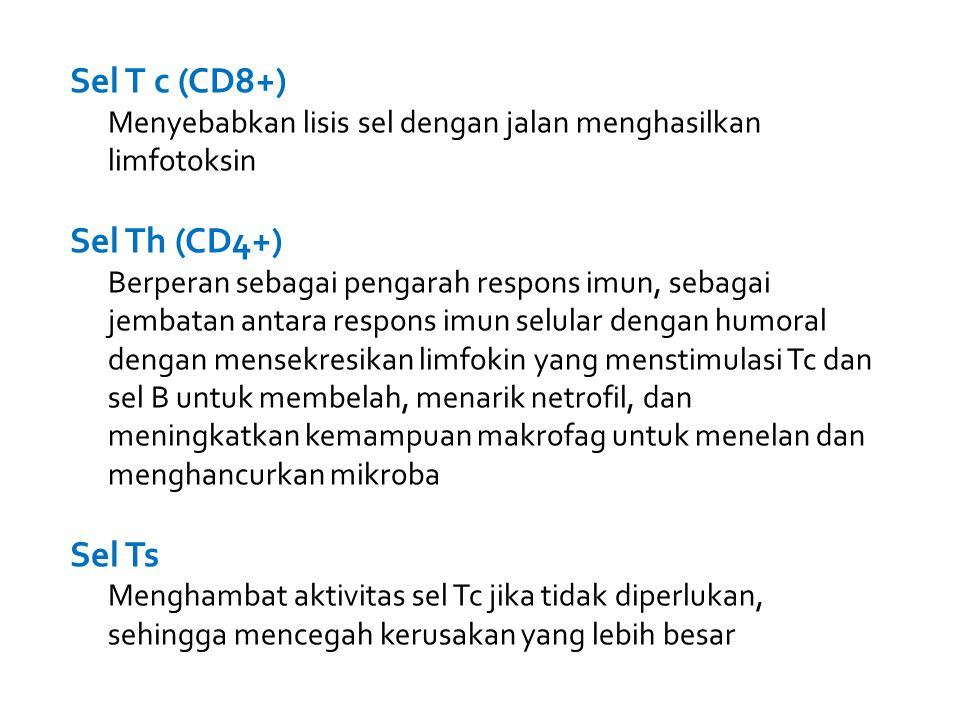 Sel T c (CD8+) Sel Th (CD4+) Sel Ts