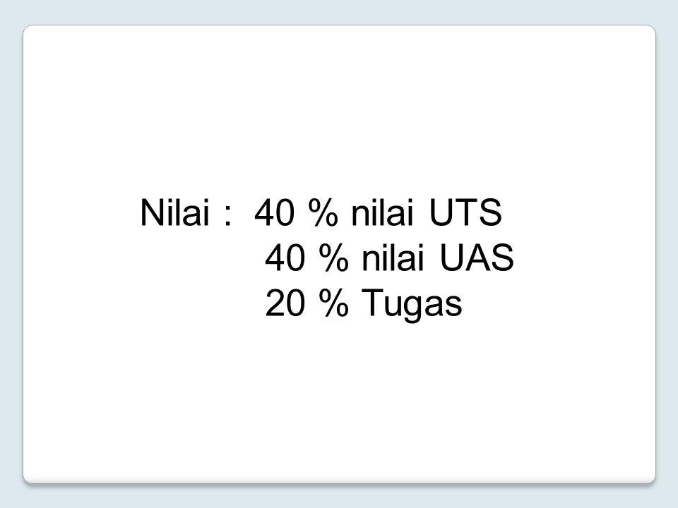 Nilai : 40 % nilai UTS 40 % nilai UAS 20 % Tugas