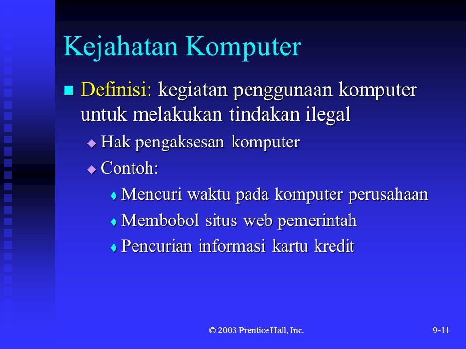 Kejahatan Komputer Definisi: kegiatan penggunaan komputer untuk melakukan tindakan ilegal. Hak pengaksesan komputer.