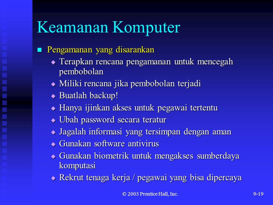 Keamanan Komputer Pengamanan yang disarankan