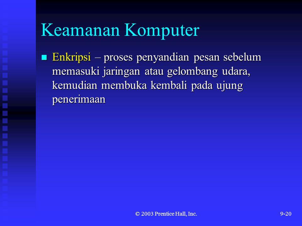 Keamanan Komputer Enkripsi – proses penyandian pesan sebelum memasuki jaringan atau gelombang udara, kemudian membuka kembali pada ujung penerimaan.