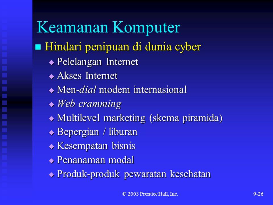 Keamanan Komputer Hindari penipuan di dunia cyber Pelelangan Internet
