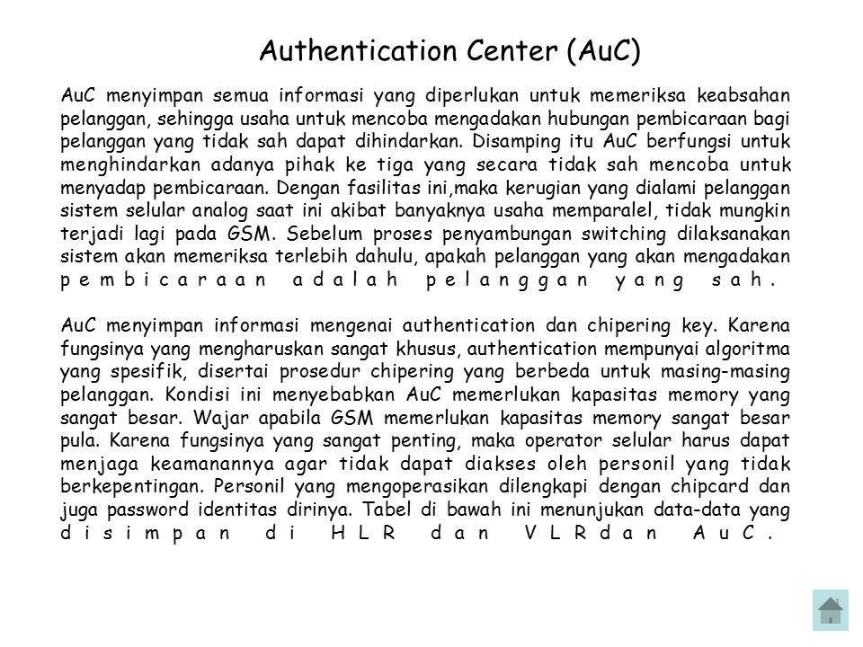 Authentication Center (AuC)