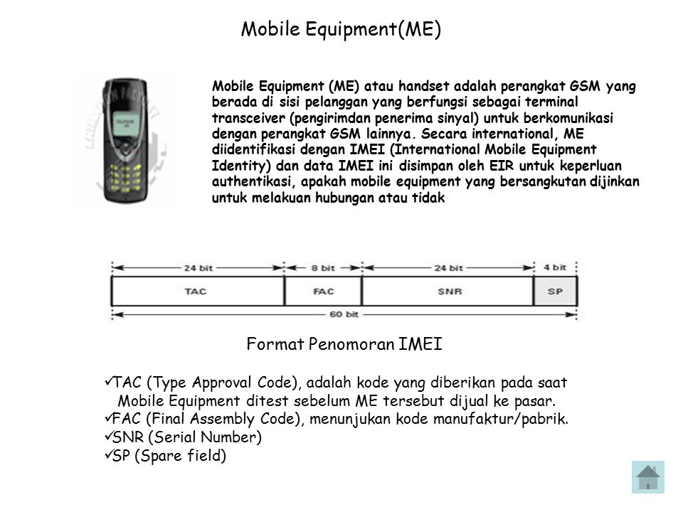 Mobile Equipment(ME) Mobile Equipment (ME) Format Penomoran IMEI